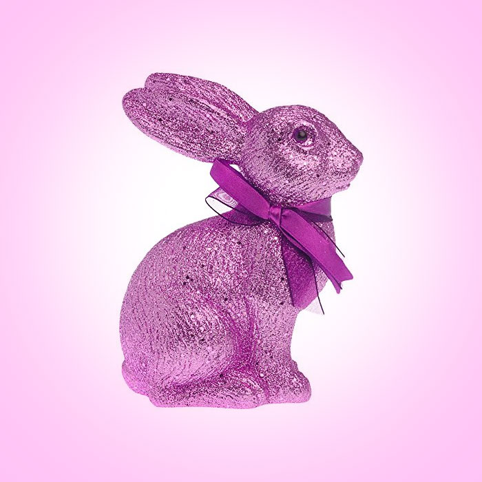 Boston-International-Glitter-Sitting-Bunny,-Pink
