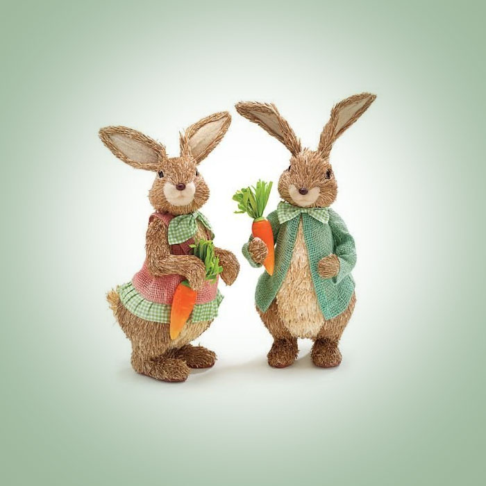 Easter-Decor-16-Sisal-Bunny-Couple-Boy-and-Girl