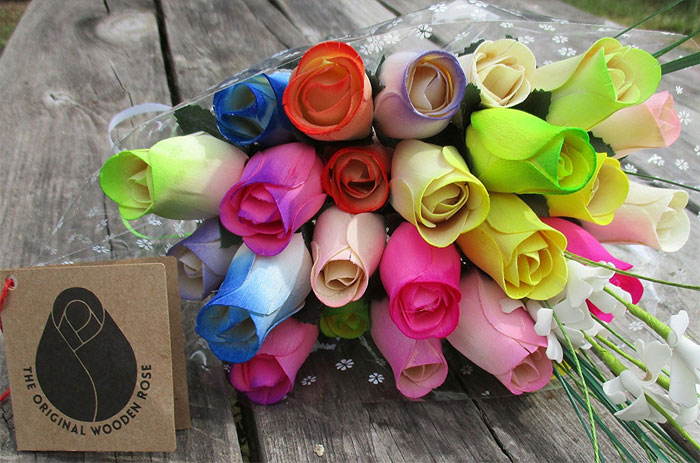 Spring-Easter-Flower-Bouquet-The-Original-Wooden-Rose-Closed-bud-(2-Dozen)