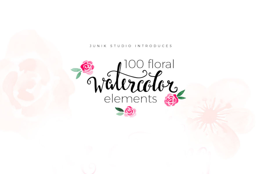 100-Free-Watercolor-Floral-Elements-1