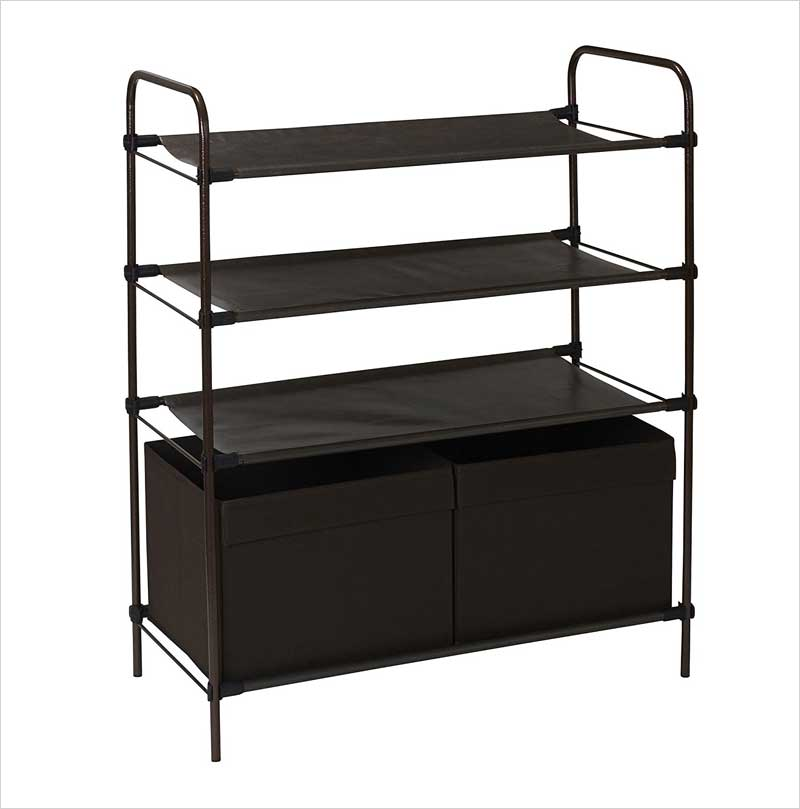 Household-Essentials-4-Tier-Storage-Shelf-with-2-Bins,-Dark-Brown