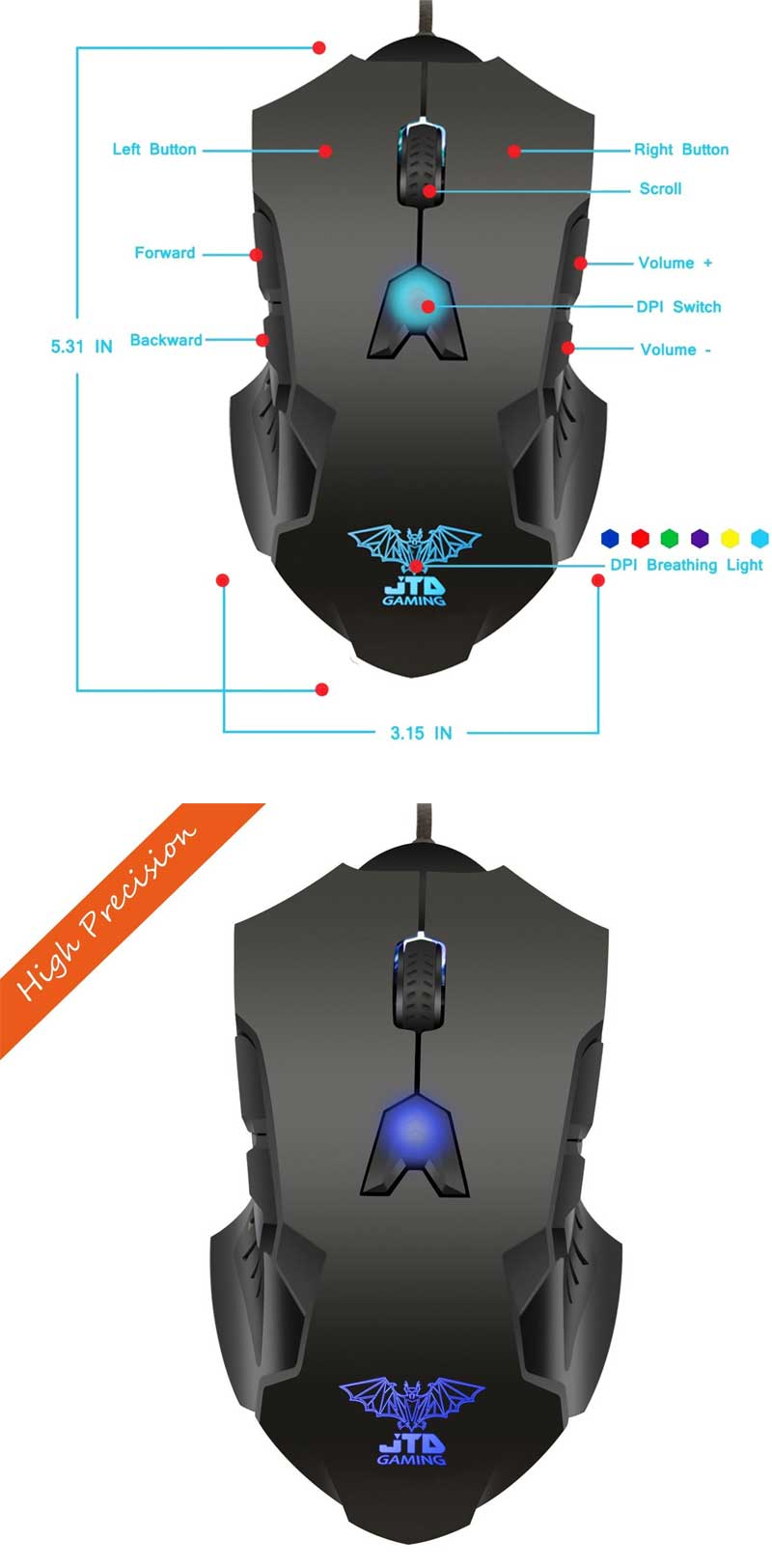 M999-Professional-Gaming-Bat-High-Precision-200-to-8200-DPI-Adjustable-DPI-LED-Wired-USB-Laser-Gaming-Mouse