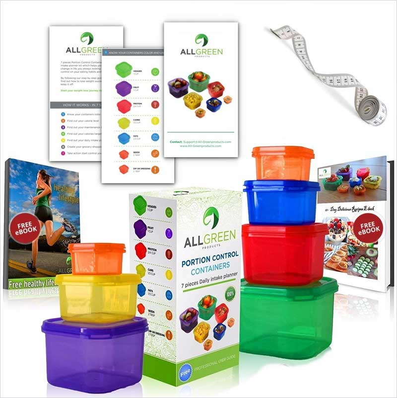 One-Day-Sale---7-Piece-Portion-Control-Containers-Colored-Set-Meal-Prep