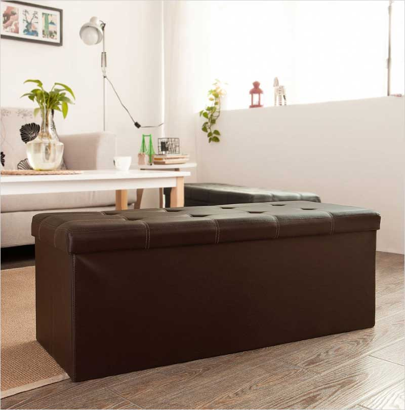 SoBuy-faux-leather-storage-ottoman,folding-storage-bench