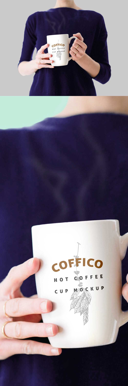 Free Woman Holding A Coffee Mug Mockup PSD