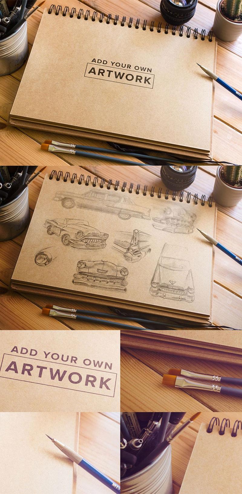 Creative Sketch Book Free Mockup In Psd