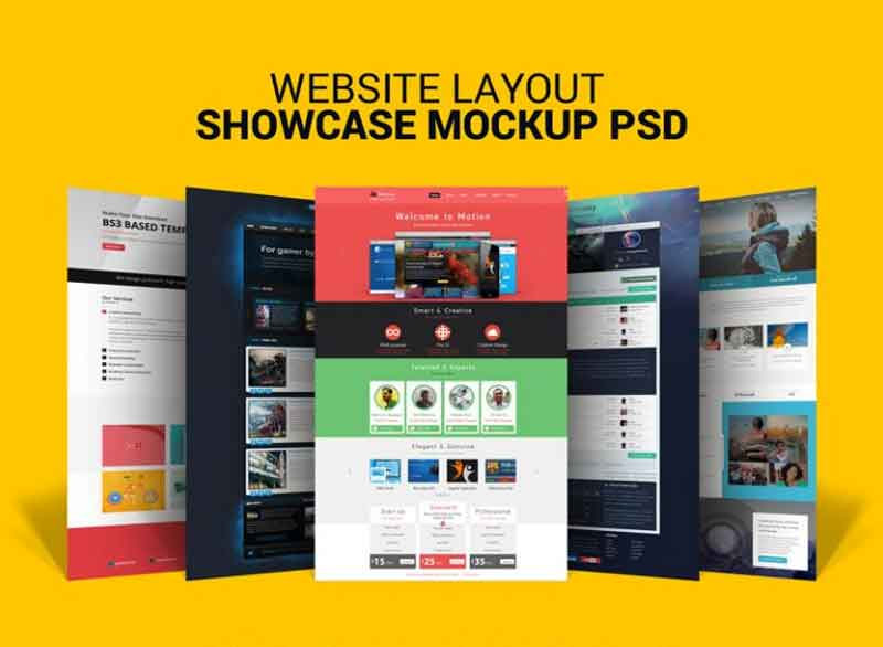 Free Website Layout Design Showcase Mock-up PSD for Web Designers
