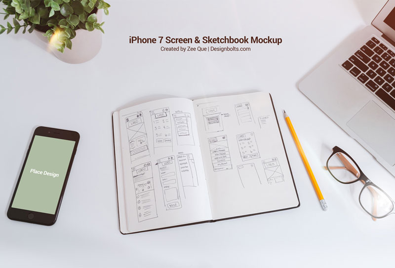 Free-Sketchbook-&-iPhone-7-Mockup-PSD