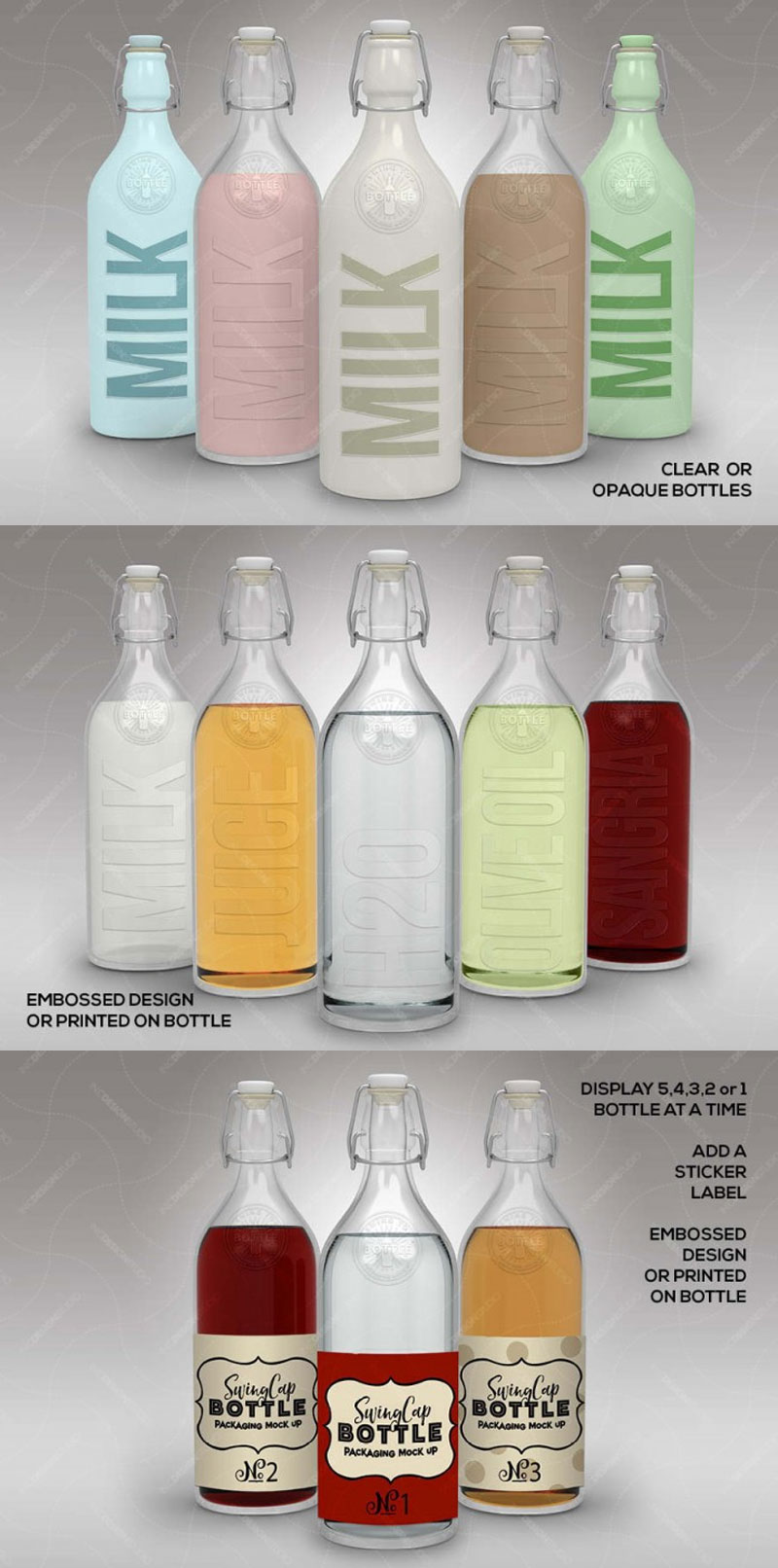 FREE Bottle Set PSD Mock Up Template