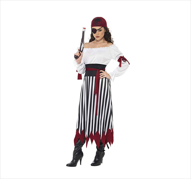 Halloween-Pirate-Lady-Costume-Dress-with-Arm-Ties-Belt-and-Headpiece